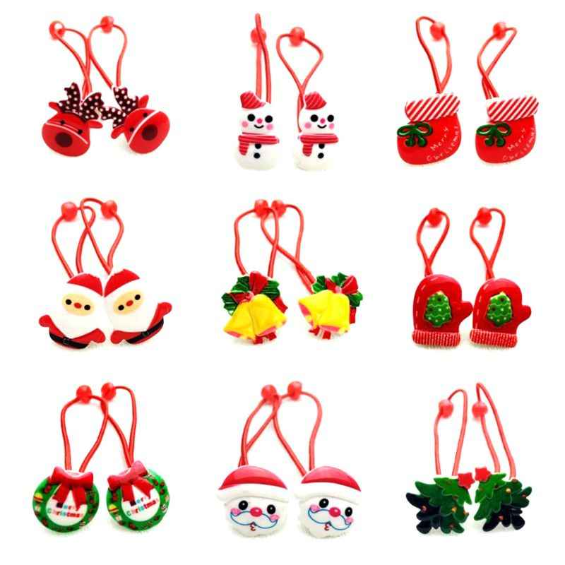Girls Cute Merry Christmas Cartoon Style Hair Rope Tree Santa Claus Jingle Bell Resin Ponytail Holder Rubber Ties Headband Gift