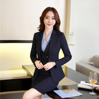 Elegant Blue Formal Ladies Uniform Styles Blazers Suits With Jackets And Dress Women Business Work Wear