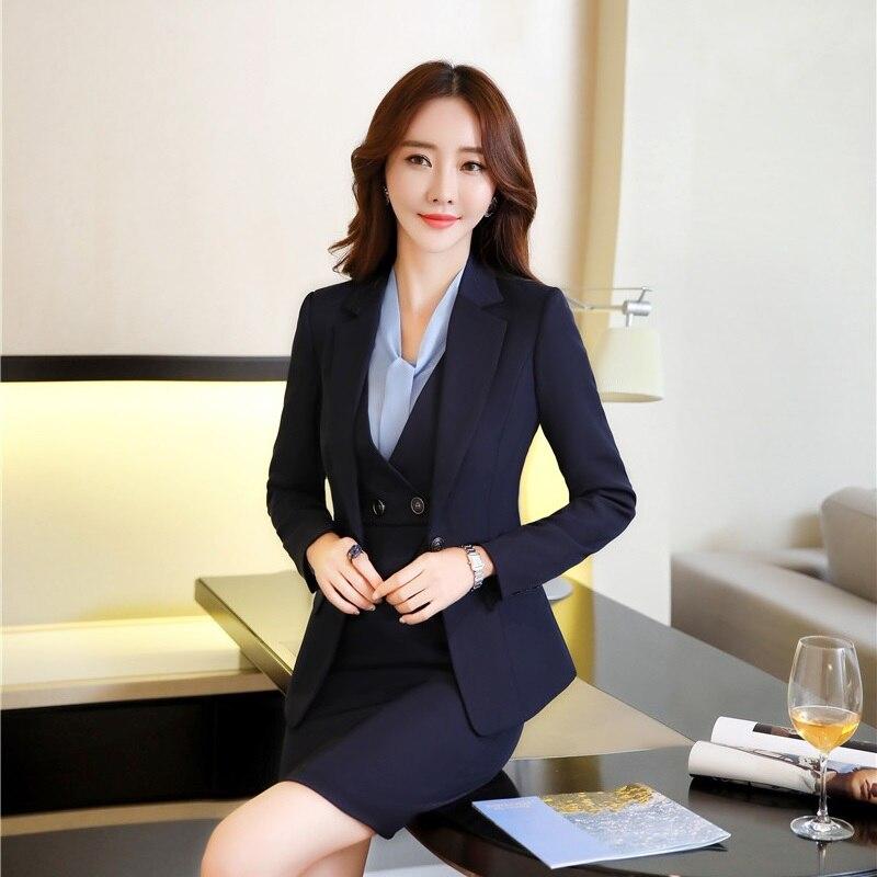 b71d609a8f Dark Et Pour Pièces Travail Blue Femmes Avec Blazer Costumes Blazers  Vêtements Élégant Styles Robe ...