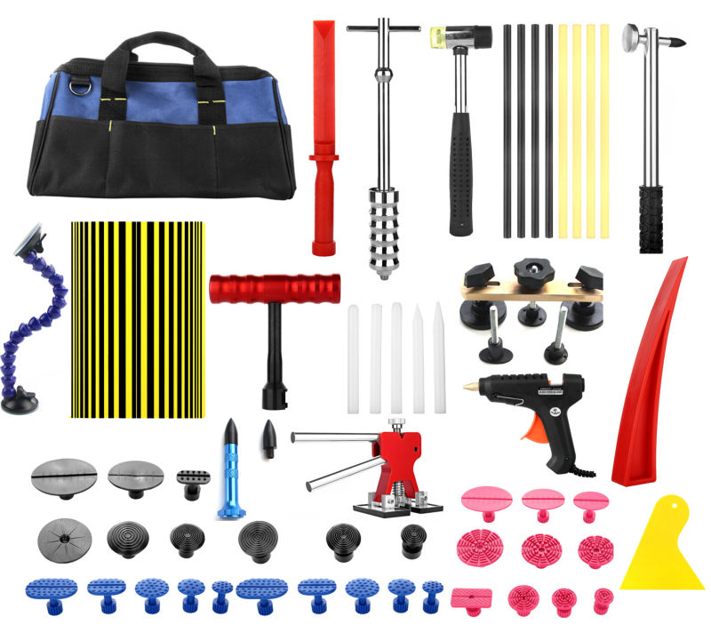 Paintless Dent Repair Tool PDR Kit Dent lifter Glue gun Line Board Slide hammer Dent Puller Glue Tabs Suction Cup PDR Tool Set  pdr rods kit with slider hammer dent lifter bridge puller set led line board glue stricks pro pulling tabs kit for pop a dent