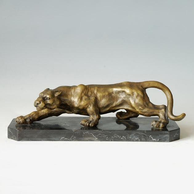 ATLIE Bronzes Sculptures Creeping Cheetah Bronze Statue ...