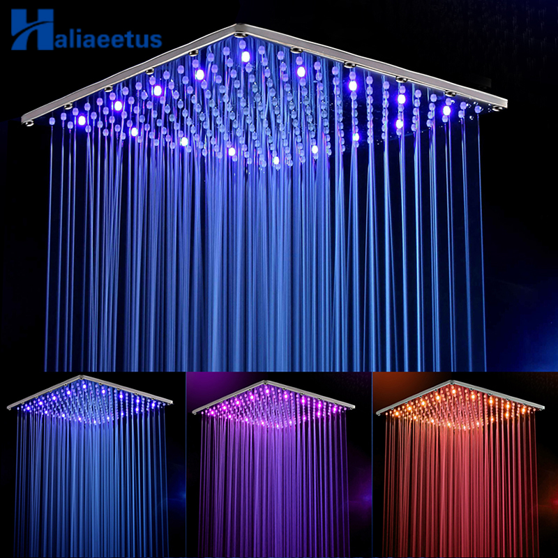 16 Inch Rain Led Shower HeadStainless Steel Water Powered 40CM  40CM Led Showerhead Rain