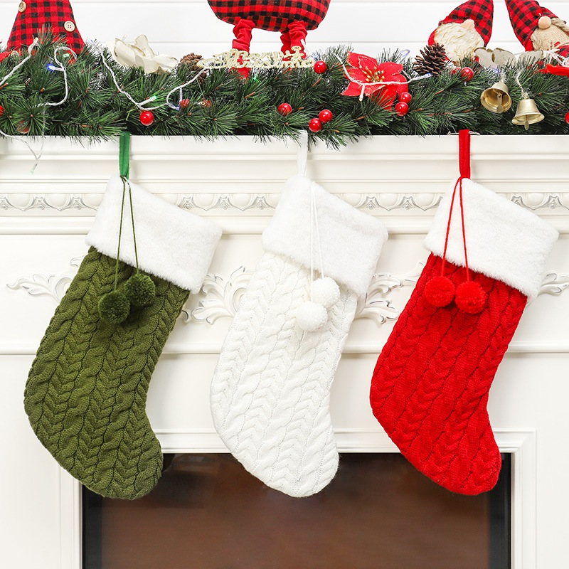 Christmas Stocking Knitting Sock With Pompom Santa Claus Candy Gift Bag Xmas Tree Hanging Decoration For Home Holiday