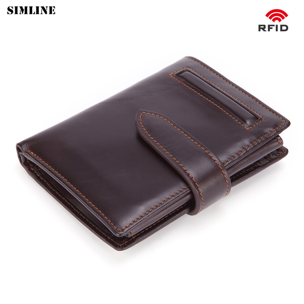 SIMLINE Genuine Leather Wallet Men Rfid Vintage Men's Real Cowhide Short Wallets Purse Card Holder With Coin Pocket For Male simline genuine leather wallet men men s long vintage cowhide clutch wallets purse card holder zipper coin pocket chain 3d male