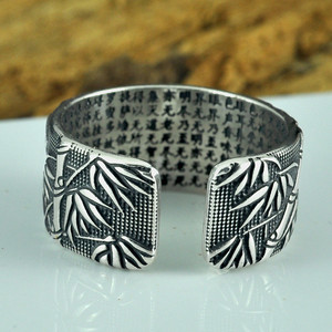 Image 2 - V.YA 925 Sterling Silver Buddhism Heart Sutra Rings For Men Classic Bamboo leaves Thai Silver Open Ring Mens Jewelry