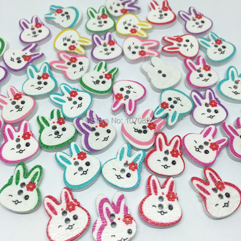 Efficient 300pcs 13x16mm Mixed Painted Rabbit Head Wood Buttons Sewing Accessories Cartoon Buttonemebellishments Special Summer Sale Buttons Apparel Sewing & Fabric