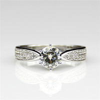 Round 1ct Lab Created Diamond Starling Style 14k White Gold Engagement Ring Star Esdomera Moissanites Wedding