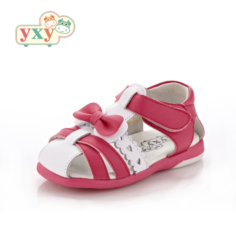 YXY 2019 haute qualité fleur véritable cochon en cuir enfants garçons filles prewalkers chaussures crochet et boucle sale preuve sandales bow chaussures