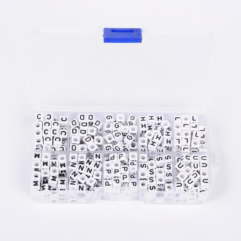 Beads White 1 Box Alphabet Acrylic Beads Hole: 3mm; About 52pcs/compartment, 6x6x6mm Letter C/d/g/h/l/m/n/p/s/u Cube