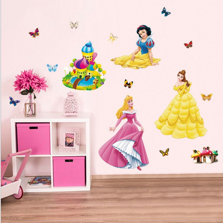 Princesses Wall Stickers For Kids Room Snow White Decals Art Wall Hone Decoration Child Wallpaper