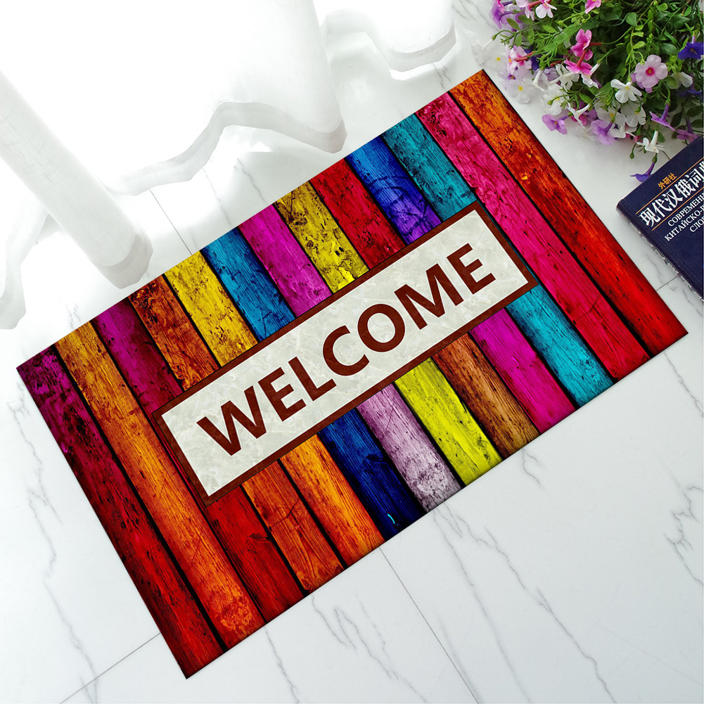 Multicolor Welcom Funny Words Outdoor Doormats Rubber Anti