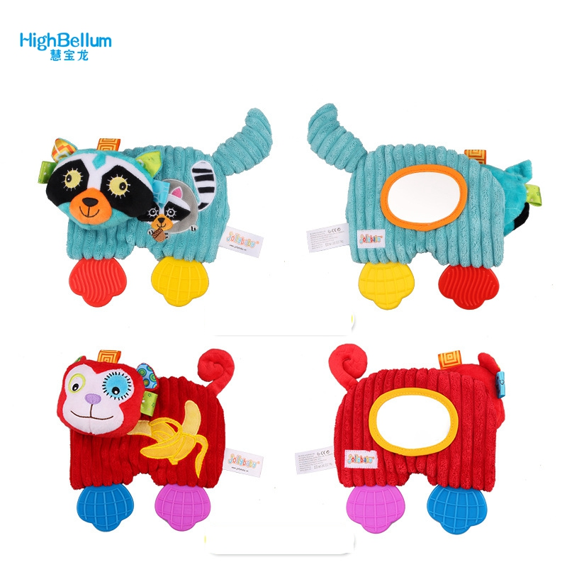 Baby Girl Boy Toys Soft Towel Handkerchief Teether Comfort Appease Playmate Plush Rattles Toy With Magical Mirror