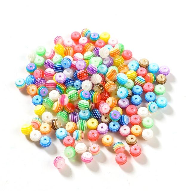 100pcs DIY Striped Round Resin Beads 1