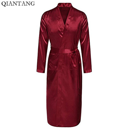 Burgundy Mens Robe Hot Sale Faux Silk Kimono Bath Gown Bathrobe Nightgown Sleepwear Hombre Pijama Size S M L XL XXL ZhM055