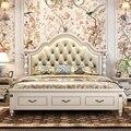 Современная Европейская кровать из массива дерева модная резная кожаная французская мебель для спальни c1903