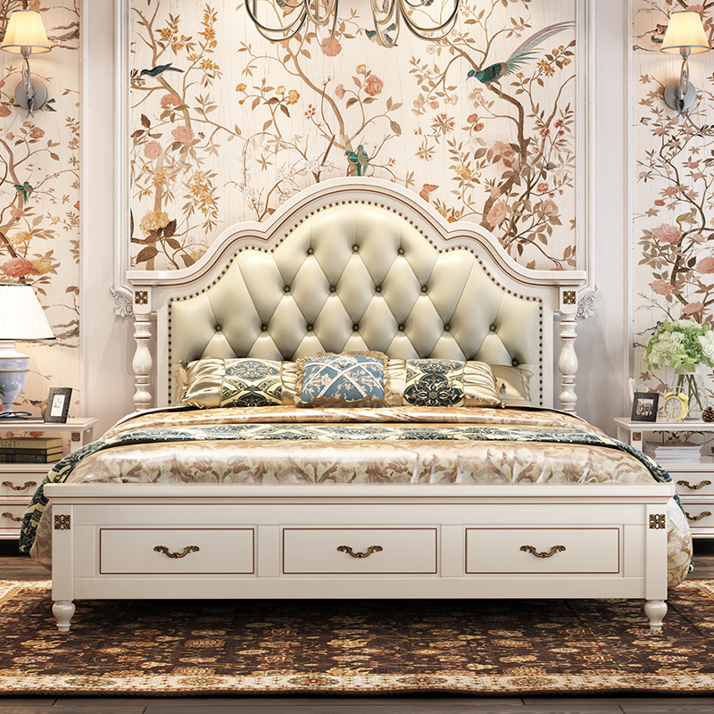 Modern European Solid Wood Bed Fashion Carved Leather