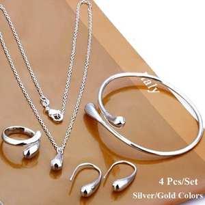 4Pcs/Set Fashion Women Teardrop Charm Necklace Earrings Opening Ring Bracelet jewelry sets necklace set hot
