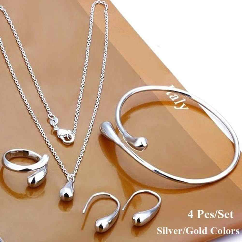 4Pcs/Set Fashion Women Teardrop Charm Necklace Earrings Opening Ring Bracelet jewelry sets necklace set hot