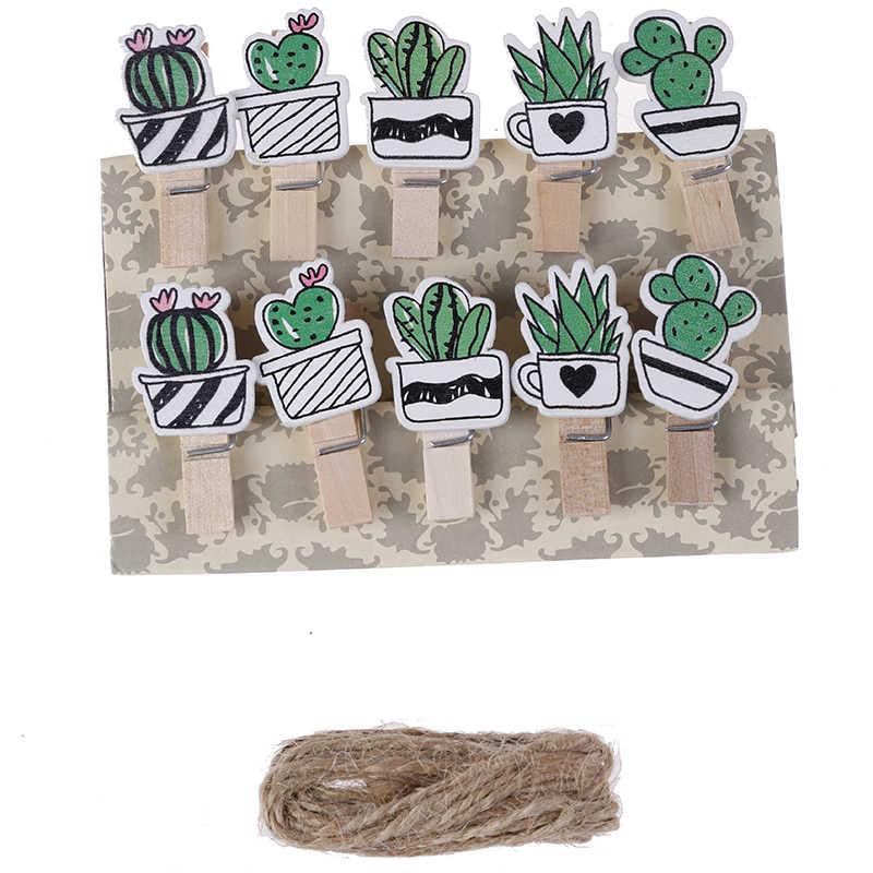 クリエイティブ洗濯ばさみクラフトため肉質花木製クリップ写真クリップパーティーの装飾クリップ麻ロープパーティー用品 10 ピース/ロット