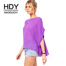 HDY HAODUOYI Fashion Solid Color Women Blouses Crew Neck Batwing Sleeve Sheer Chiffon Tops Street High Low Loose Casual Shirts недорого