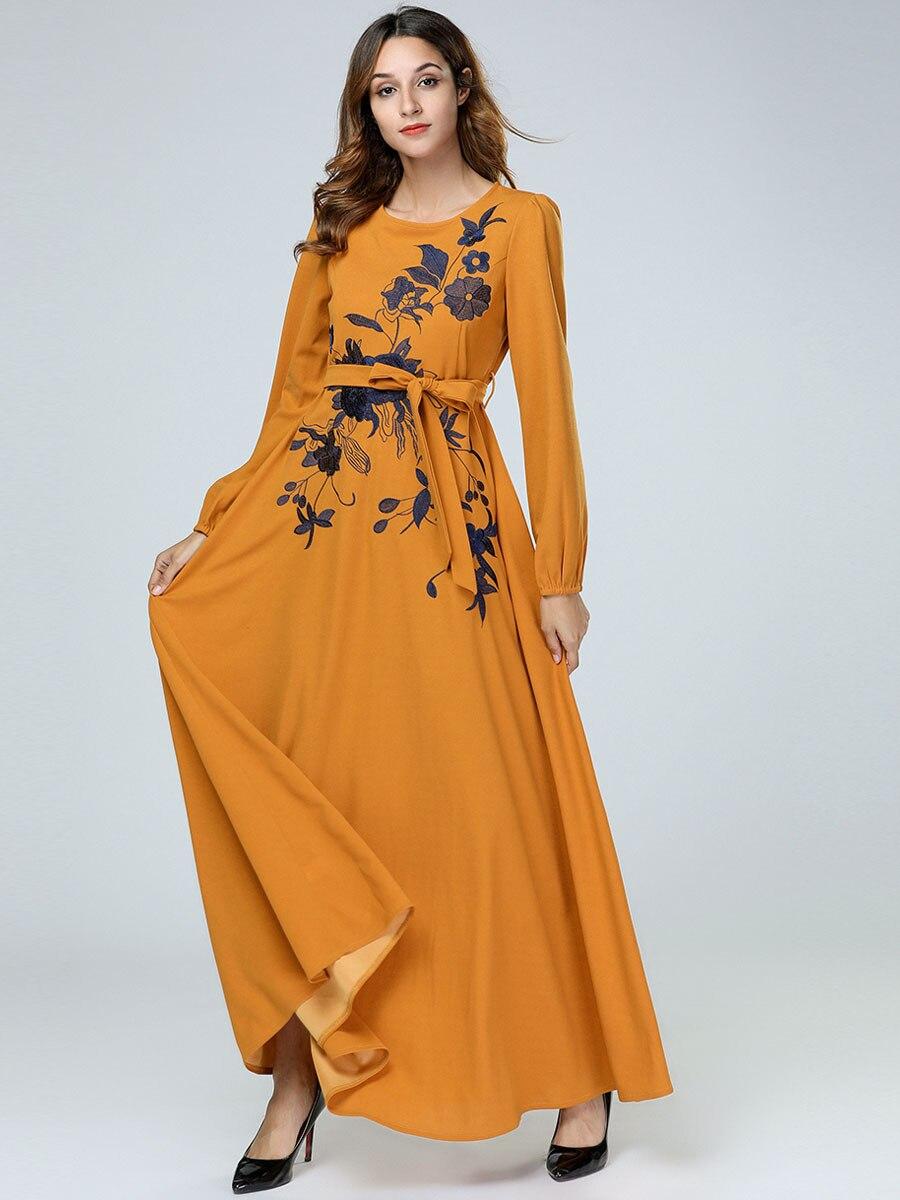 Embroidery Abaya Dress Maxi Dresses Autumn O-Neck Belt Women Vintage Elegant Full Sleeve Floral Flower 7415
