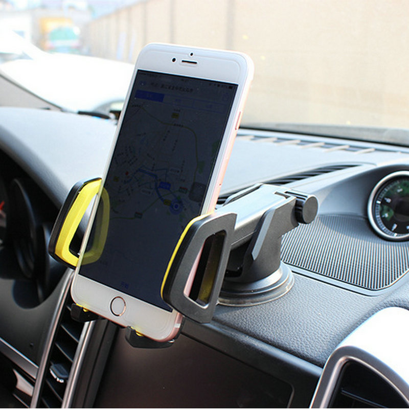 Car phone holder glass sucker type navigation dashboard 4 color gray, blue, red, yellow windshield dashboard car holder phone stand with sucker adjustable easy installation