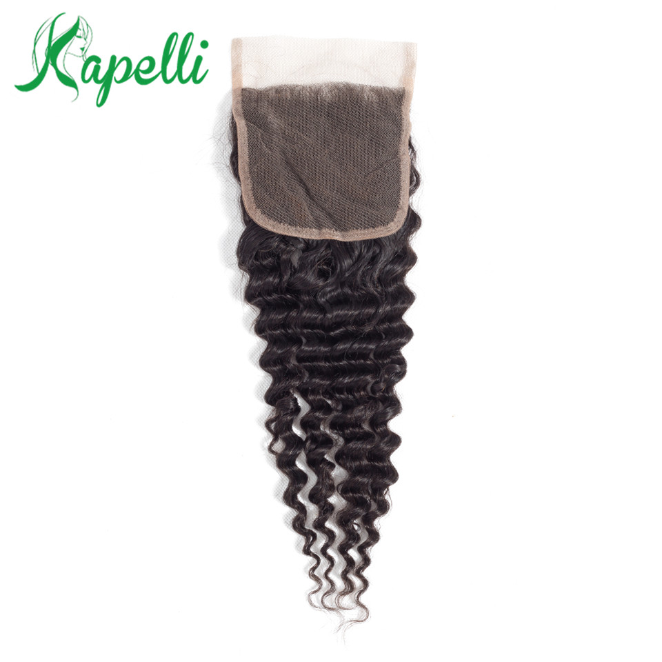 Brazilian Human Hair Weave Bundles Straight 10-18 Inch 4*4 Lace Closure Natural Non-Remy Ombre Closure Hair Extensions 1PC/Lot