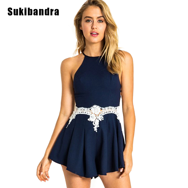 great discount sale great fit exclusive deals US $29.98 |Sukibandra Summer Romper Casual Sexy Backless Lace Playsuit  Women Spaghetti Strap Rompers Womens Navy Blue Beach Short Jumpsuit-in  Rompers ...