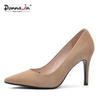 دونا في 2017 جديد أسلوب جلد الغزال مثير واشار تو عالية الكعب مضخات الطبيعية مكتب الفردي الكعب امرأة الأحذية