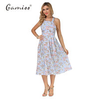 Gamiss Women Summer Dress Casual Spaghetti Strap Floral Print Women Backless Cross Vintage Dresses 2017 Mid