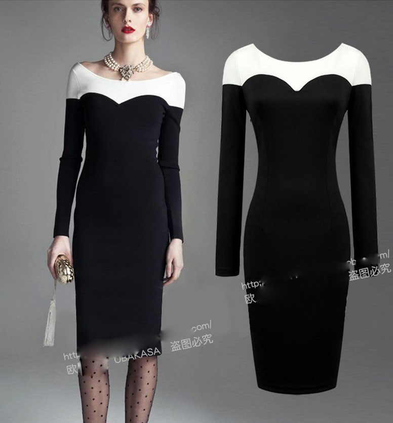 2015 Best selling dress office lady slim girls casual sleeve dress long  night club sexy lady clothing black big size XL M L E400-in Dresses from  Women s ... 7fc1a0f91397