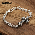 100% Genuine 925 Sterling Silver Vintage Punk Cross Link Bracelet Thai Silver Jewelry for Man or Women