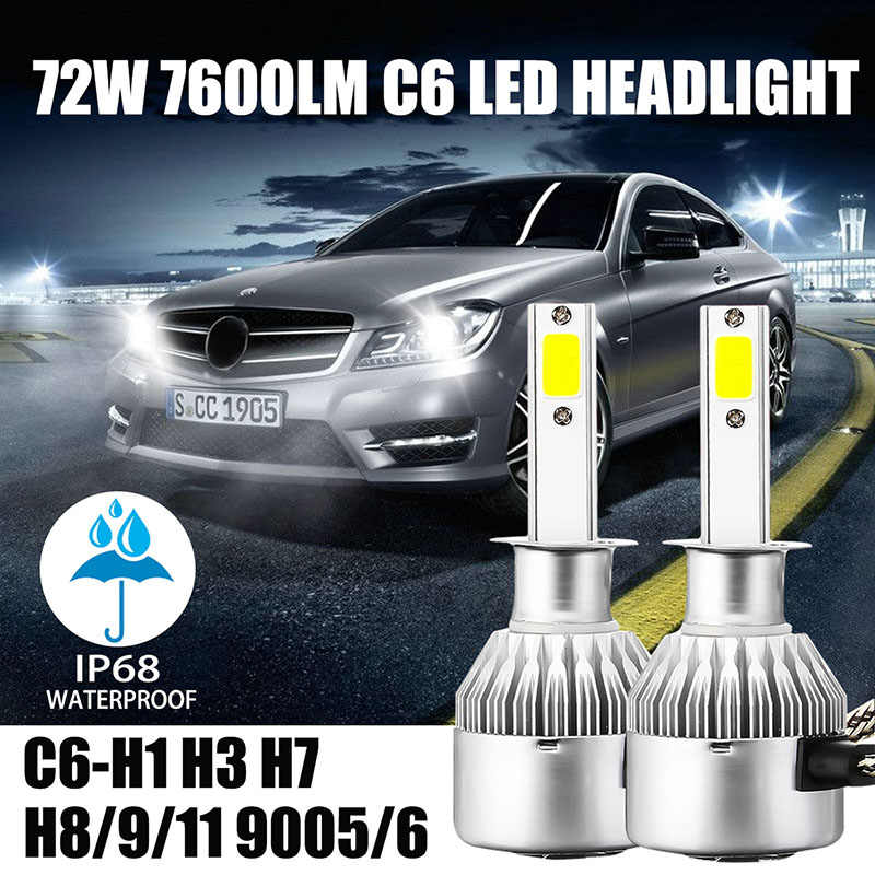 New H7 H4 LED Car Lights 9005 H1 H3 HB1 HB3 9006 9007 880 Car Headlight Lamp Bulb Fog Light 24V 72W 8000LM 6500K COB Lights