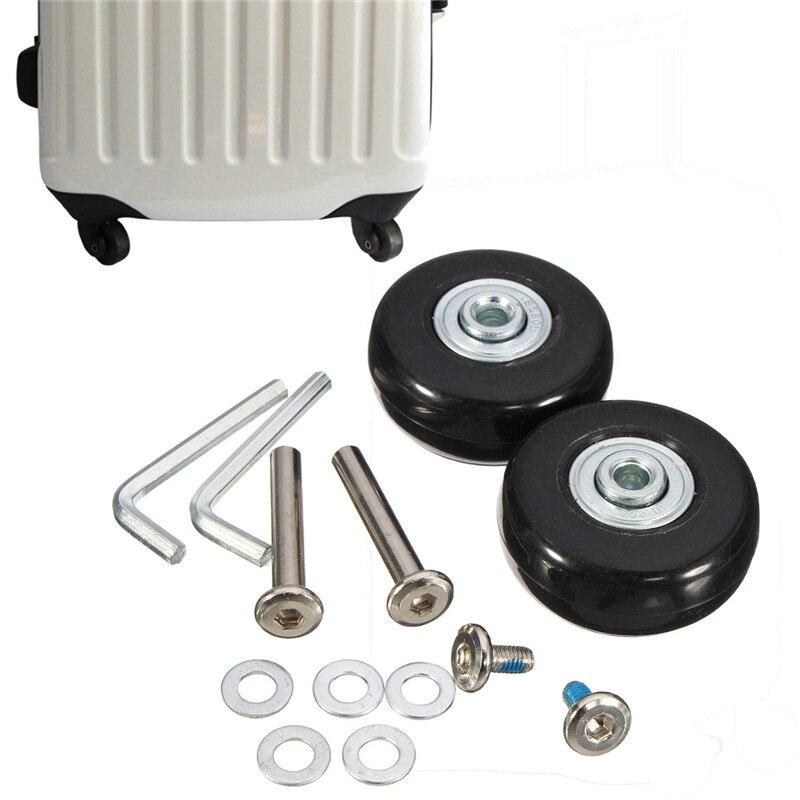 Osmond 1 par 45x18mm equipaje maleta ruedas de repuesto ejes Deluxe reparación caucho rueda del equipaje del recorrido negro con tornillo