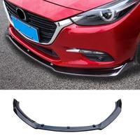 Carbon Fiber Style/Gloss Black Front Bumper Lip Protector Cover Spoiler Chin Guard 3pcs/set For Mazda 3 Axela 2014 2018