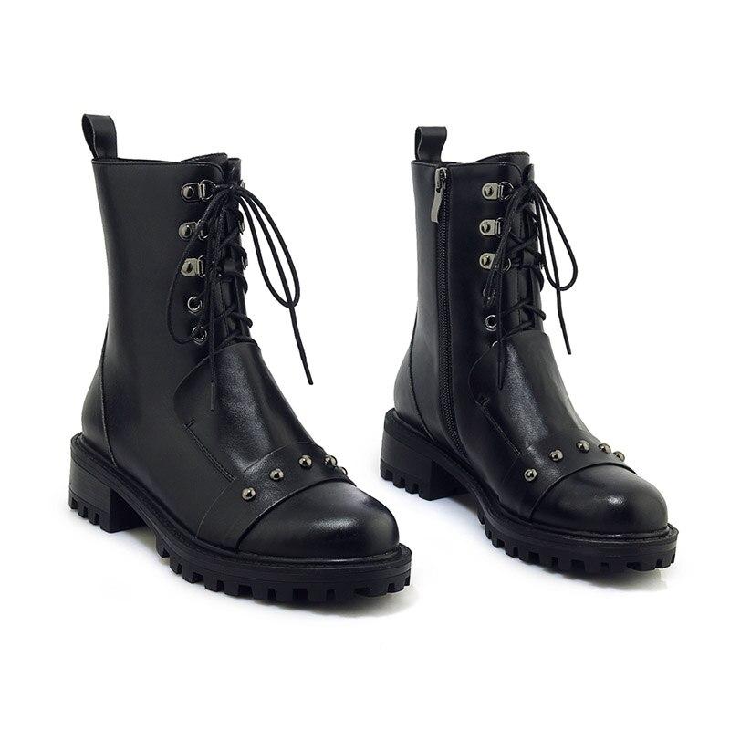 958abde59ebe5 Talons Chaussures Femmes Platforn En Femme Black Rivet Bout Boot Lace  Wetkiss Moto Bottines Cuir Rond Épais Punk Femelle Up 5zgnxq1fw