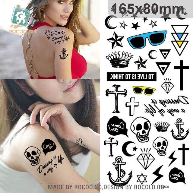 Harajuku Wterproof Temporary Tattoos For Boy Women Skull Cross Cartoon Design Large Tattoo Sticker FC2505