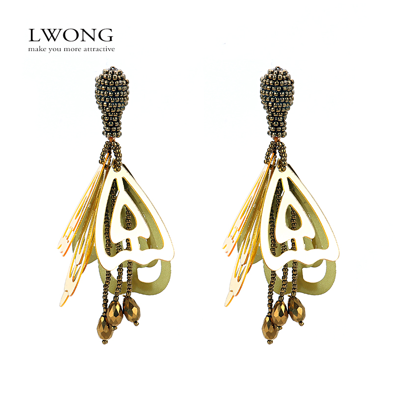 LWONG Hollow Out Large Impatiens Flower Clip On Earrings for Women Exaggerated Beaded Acrylic Hanging Earrings None Pierced
