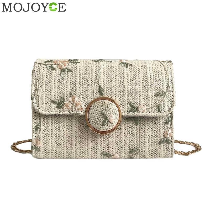 Elegant Flora Straw Casual Women Crossbody Bags Chain Printed Vintage Flap Hasp Mini Square Messenger Bags bolsa feminina 2018