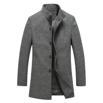 Autumn Winter New Fashion Silm Fit wool coat Men Solid Long Trench Coat stand collar Warm Overcoat casual Wool Blends jackets