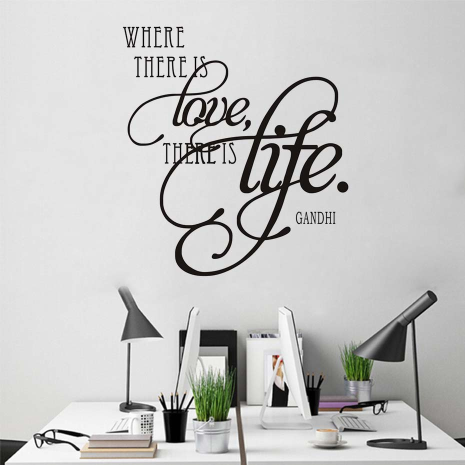 Where There Is Love There Is Life Sayings Wall Sticker For Living ...