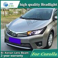 Автомобиль голове стиль лампа чехол для Toyota Corolla 2014 LED Фары для автомобиля DRL дневные Бег света Биксеноновая HID Интимные аксессуары