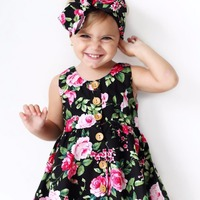 Everweekend Ins Hot Kids Girls Print Flowers Princess Sleeveless Summer Dress with Hair Band Ribbon Western Baby Dress