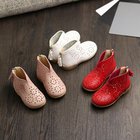 Kids Shoes Girls Leather Sandals Fashion Big Flower Girl Flat Pricness Spring Autumn Children Party Anti