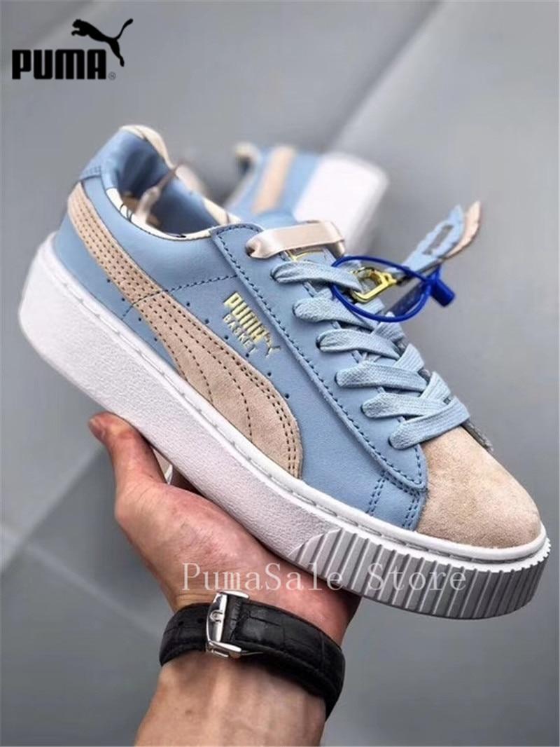 166a1eeddf0dff 2018 Original PUMA Basket Platform Women s Sneakers Silver Peony Cashmere  Blue 366364-01 Coachella