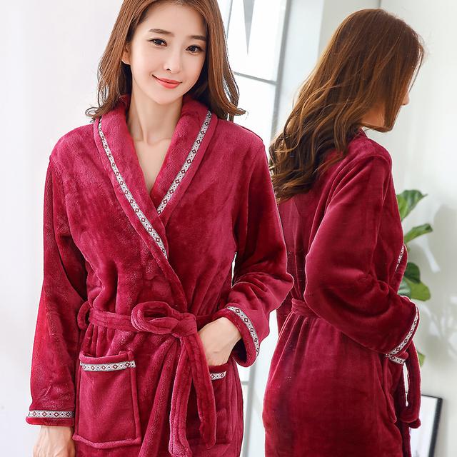 Lovers Coral Fleece Robe Autumn Winter Warm Sleepwear Women Men Thicken Bathrobe Lounge Nightgown Home Clothes M L XL XXL Robes