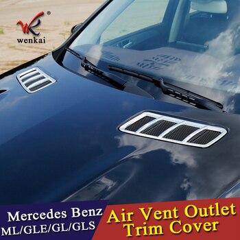 Wenkai ABS chromowany przedni kaptur Air Vent Outlet naklejki pokrywa osłonowa dla Mercedes Benz GL GLE GLE GLS ML klasy X166 w166 Car Styling