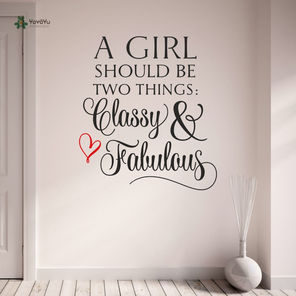 YOYOYU Wall Decal Vinyl Wall Sticker Removeable Quote Classy and Fabulous Girls Teenagers Room Decoration YO120 ...