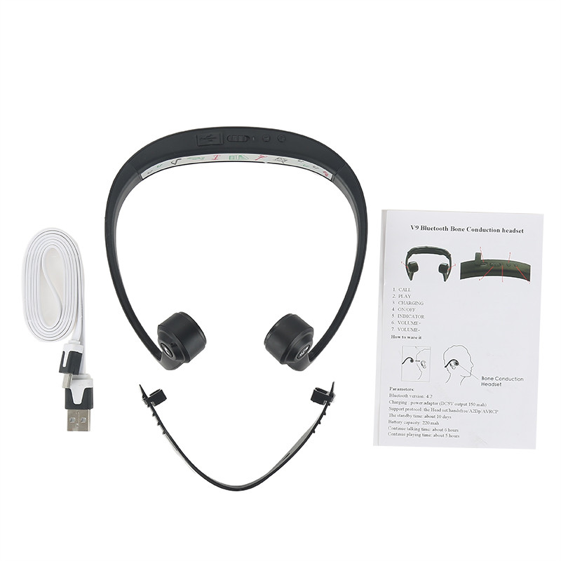 New Original V9 Ear Hook Bone Conduction Bluetooth 4.2 Sports Headphone Headset With Mic Bone Conduction Headset