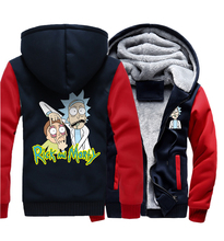 Men 2019 Winter Thick Jacket Male Hip Hop Hoody RICK AND MORTY Print Hoodies The Crazy Scientist Fashion Streetwear Sweatshirts